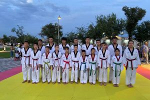 Demonstration performance of students of the Academy of Taekwondo of the Kyrgyz Republic